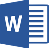 Title: Graphic Microsoft Word logo - Description: This is a graphic representing Microsoft Word, which consists of the letter w in front of graphical lines